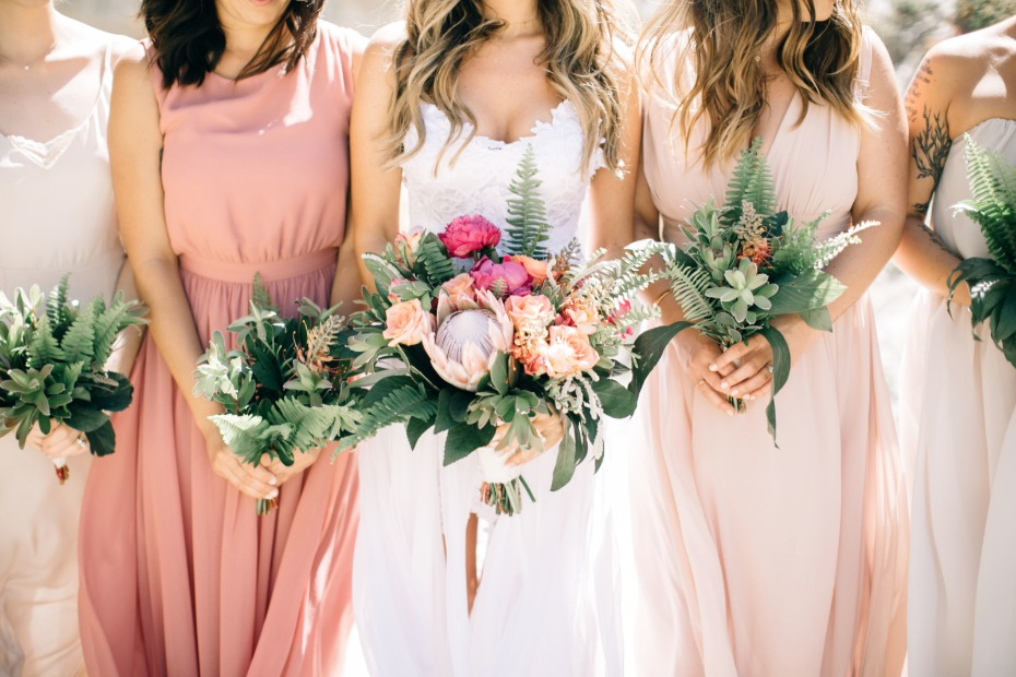 tropical peach boho chic bridesmaid bouquets