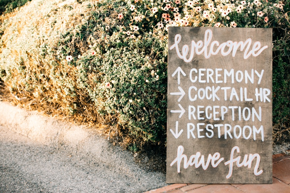 rustic handmade wedding ceremony sign