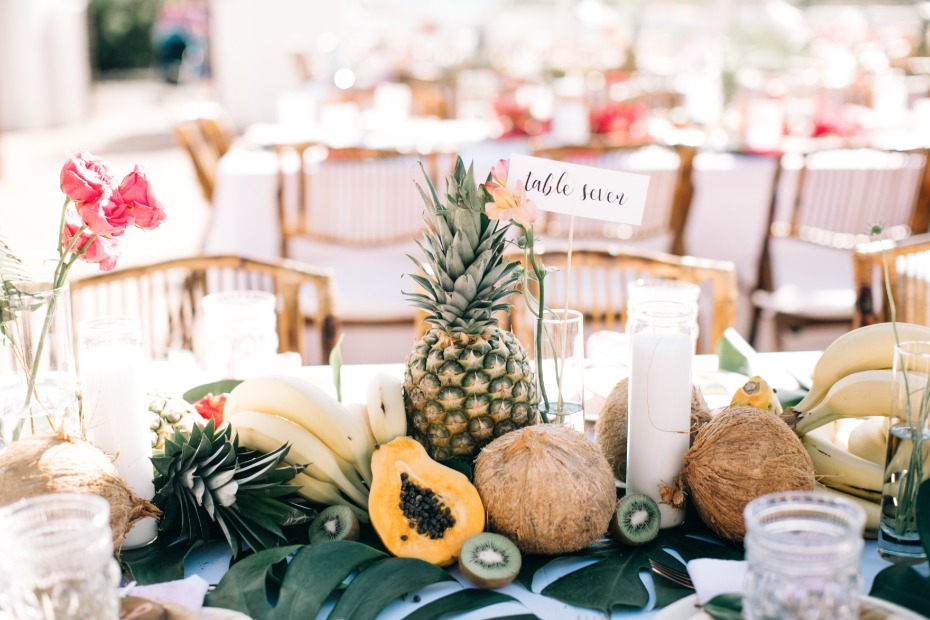 fresh fruit on table for wedding