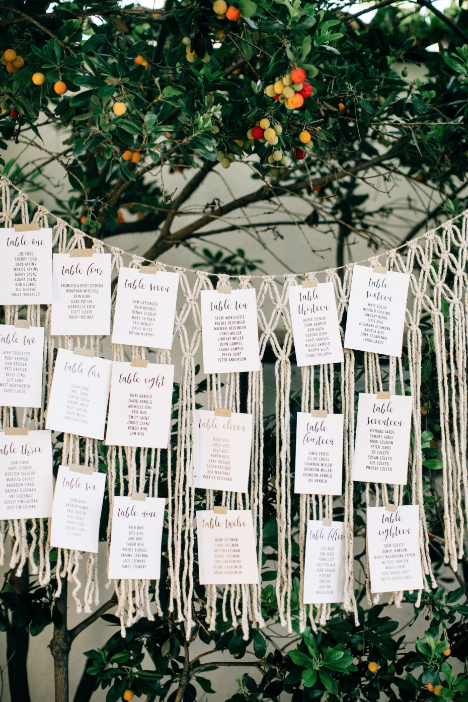 guest names on a macrame curtain