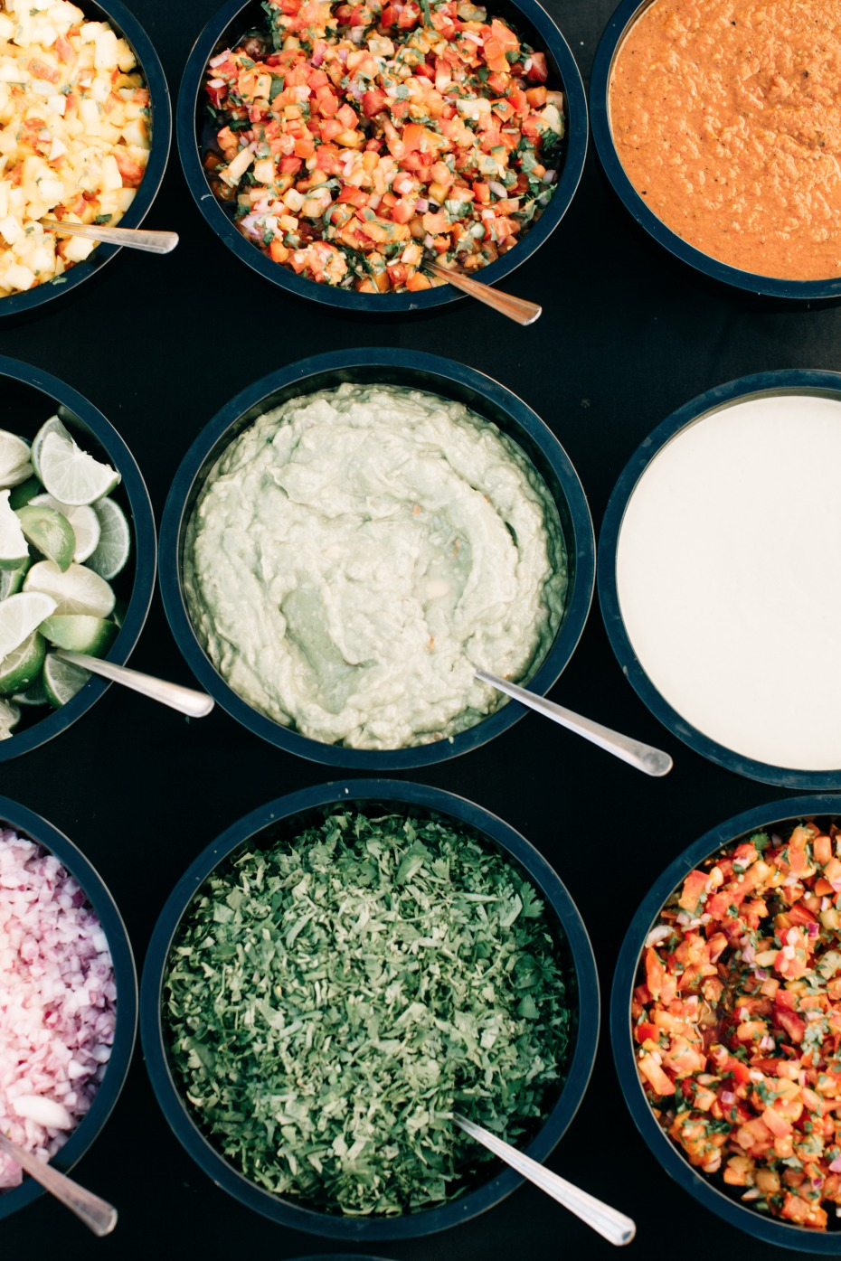 Wedding Reception idea - homemade salsa bar for taco bar at wedding