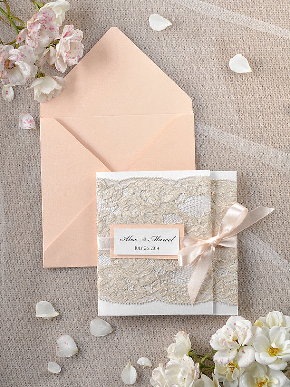 wedding invitation with real #lace