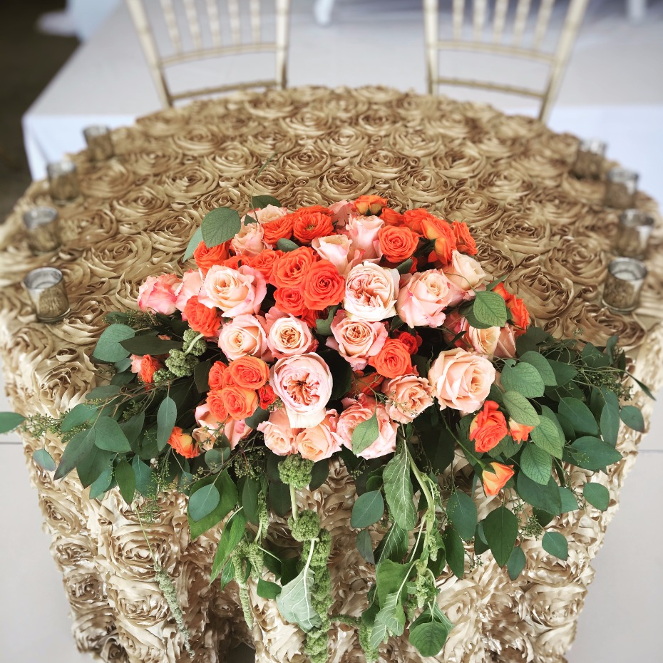 Beautiful sweetheart table centerpiece from Saba Decor Rentals