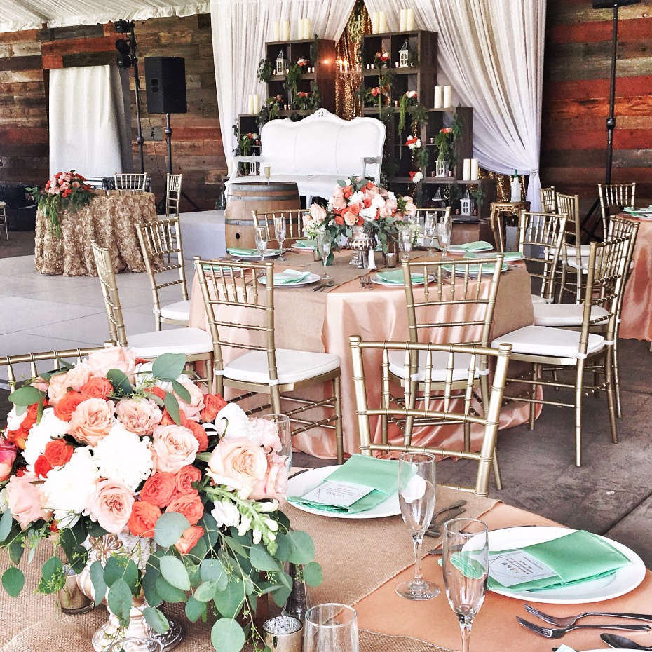 Rustic elegant reception decor from Saba Decor Rentals