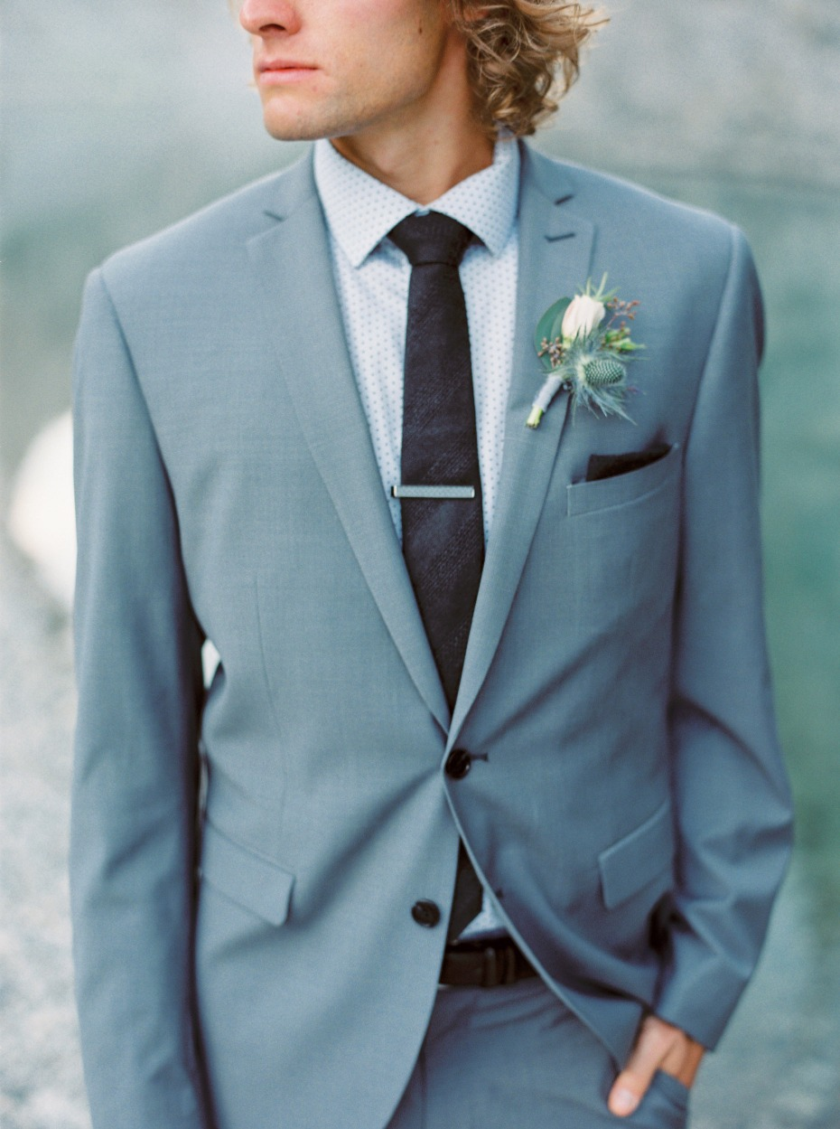 groom in slate grey suit