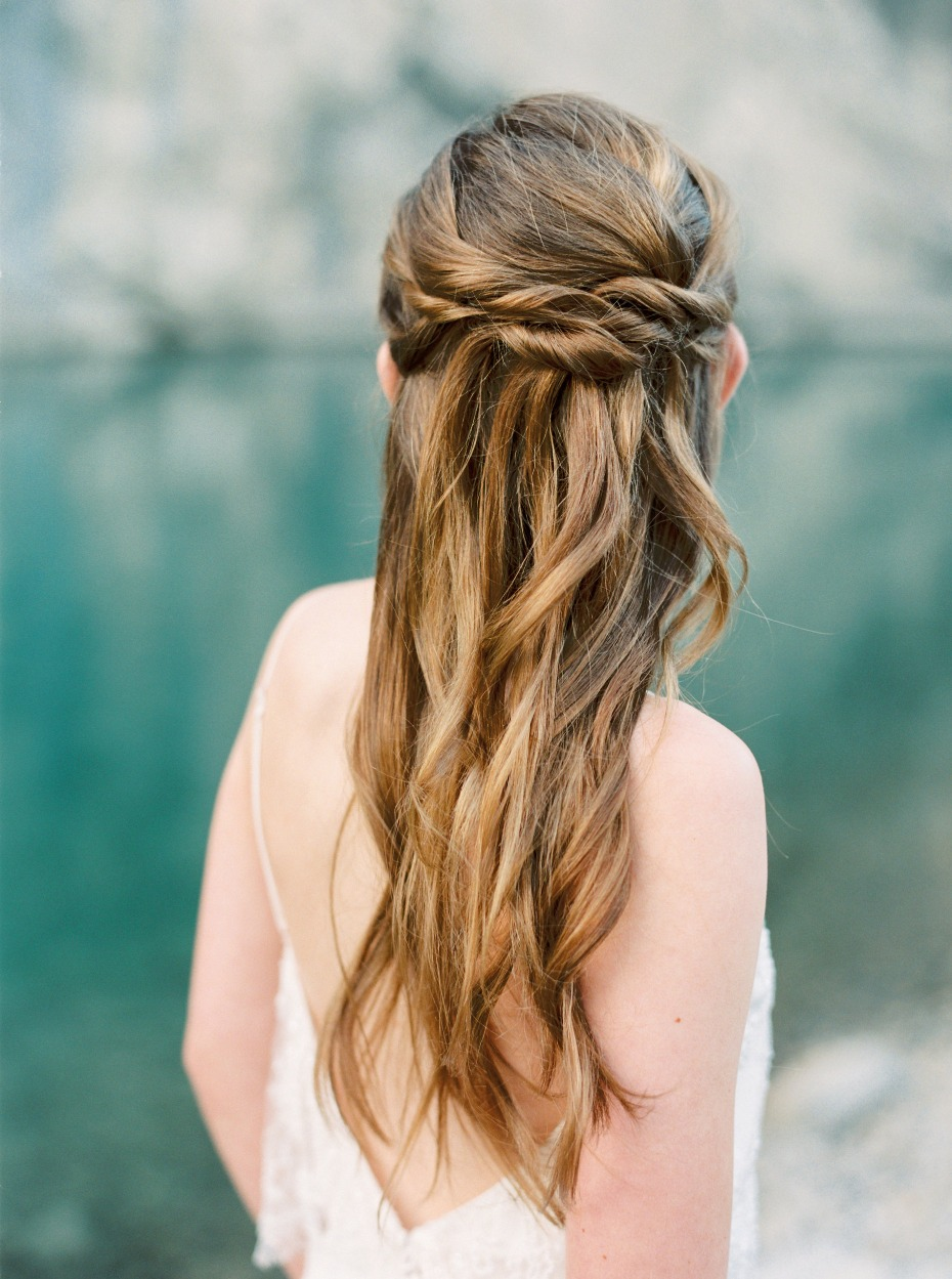 simple and chic half up wedding hair