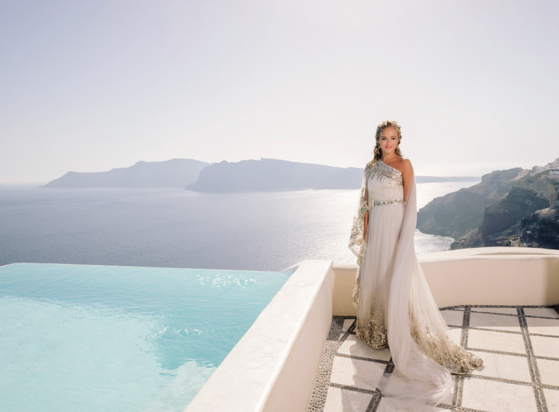 Bridal Portrait with amazing Santorini on the backdrop