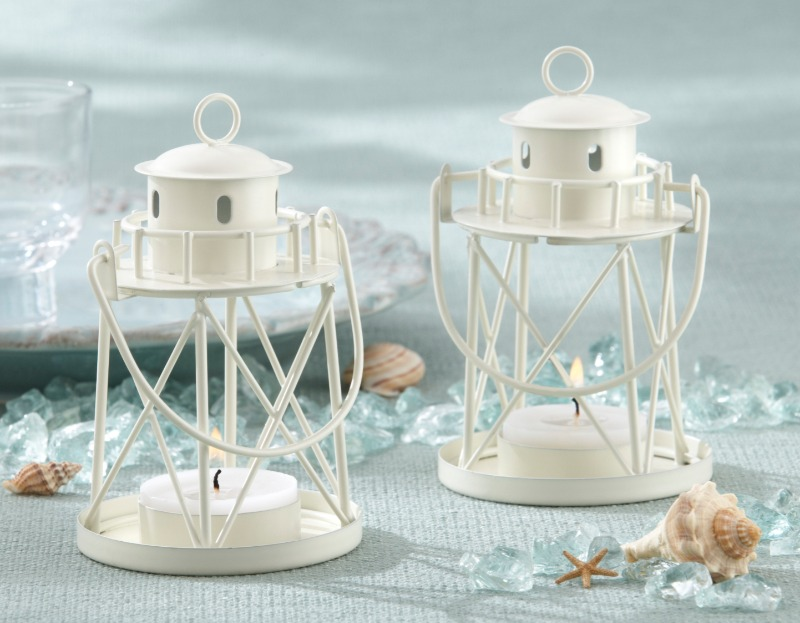 """🐚 Contemporary, yet quaint, """"By the Sea"""" Lighthouse Tea Light Holder grasps the imagination with scenes of deep-blue ocean waves"""