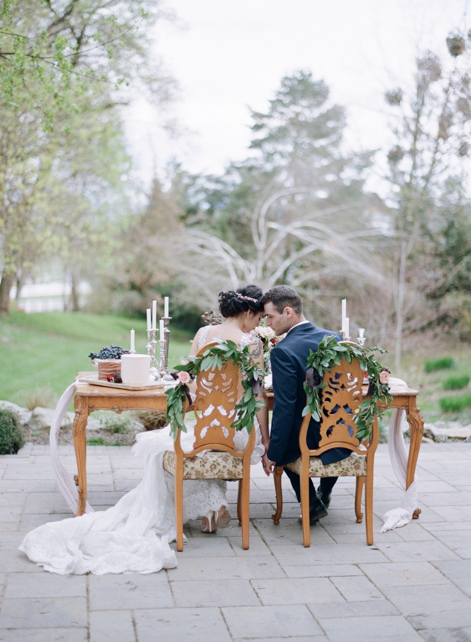 Sweetheart table for a romantic elopement