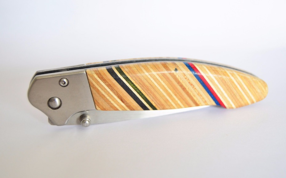Folding Pocket Knife made with Reclaimed Skateboards