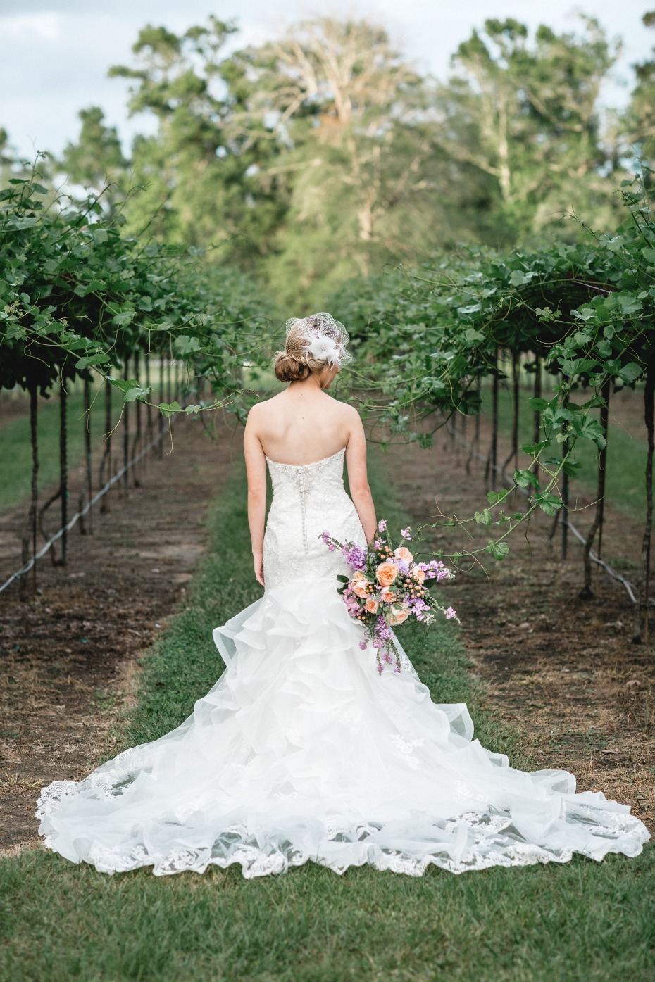 mermaid style dress train from Shades of White Bridal
