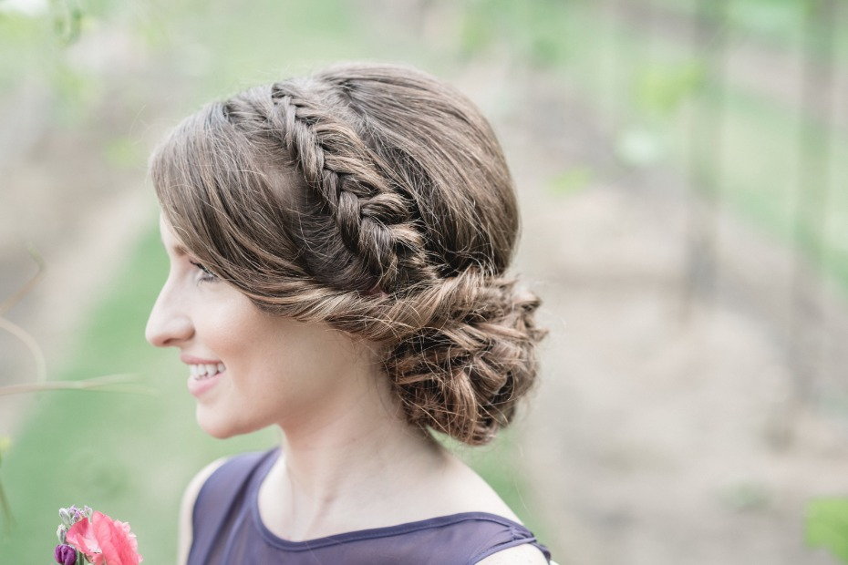 milkmaid braid bridesmaid hair