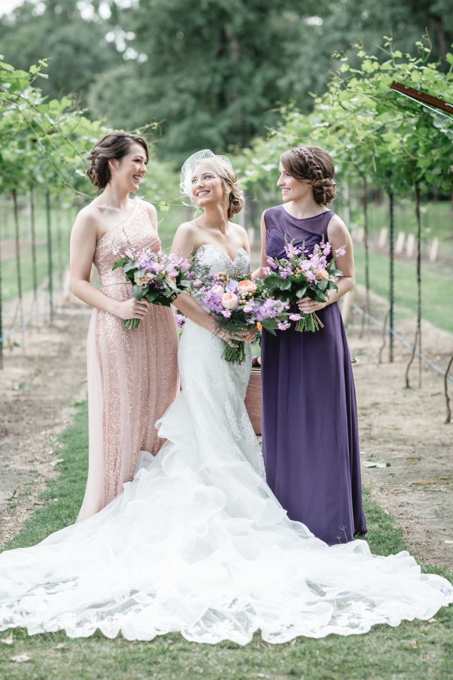 glitter bridesmaid dress and purple dress