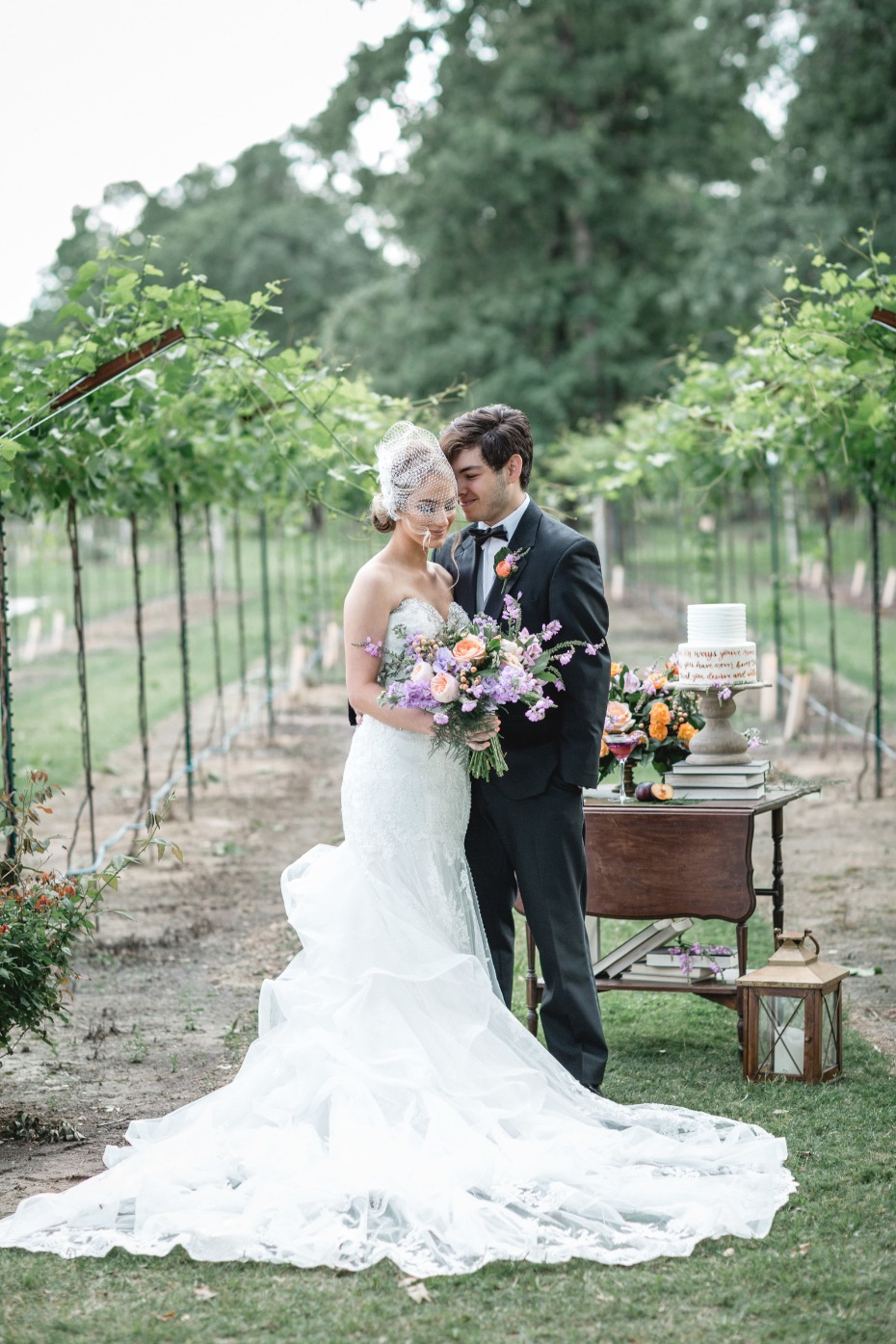 vintage vineyard wedding couple