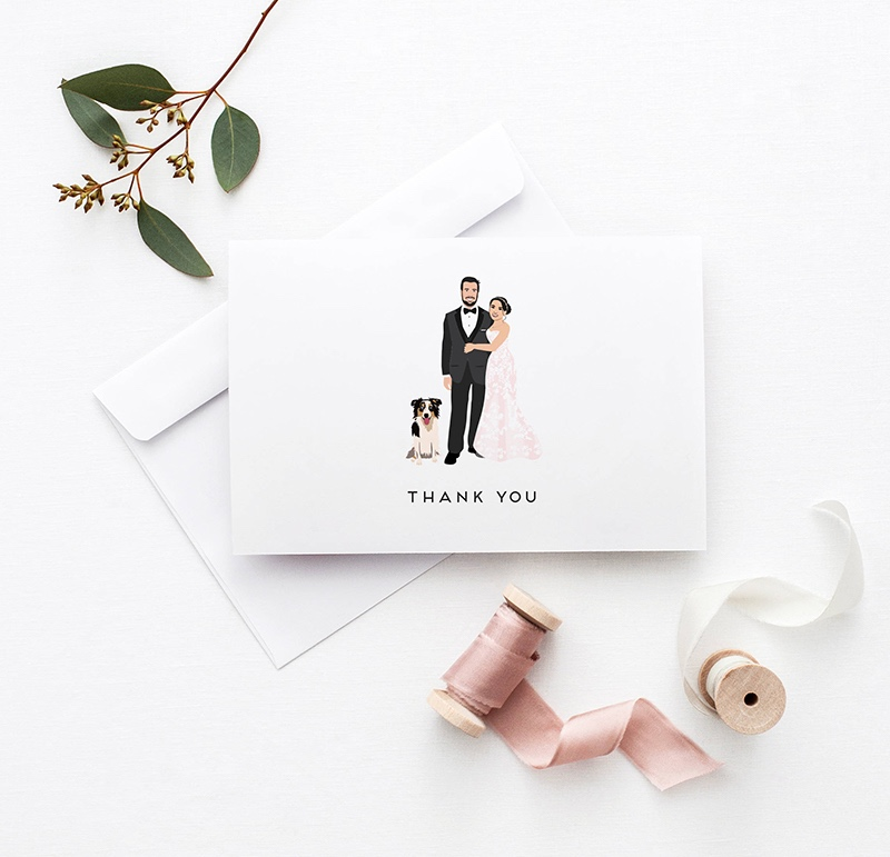 Miss Design Berry's Portrait Wedding Thank you Cards are the perfect way to thank your guests after your wedding!