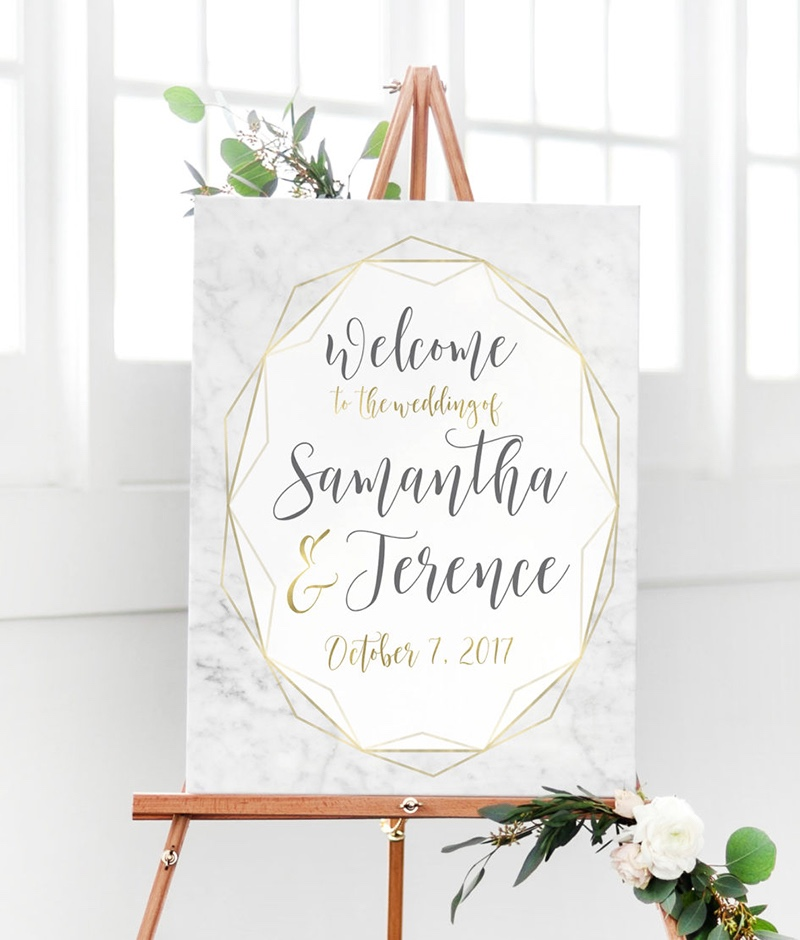Miss Design Berry's Modern Geometric Wedding Welcome sign features chic colors along with metallic accents for a modern look.