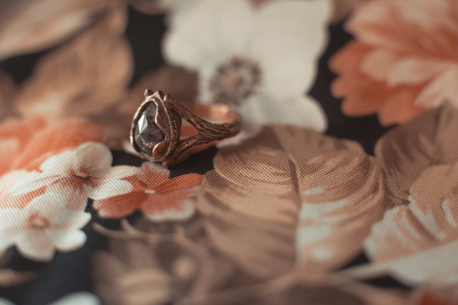 dramatic, handmade and unique engagement ring form Rhodes Wedding Co.