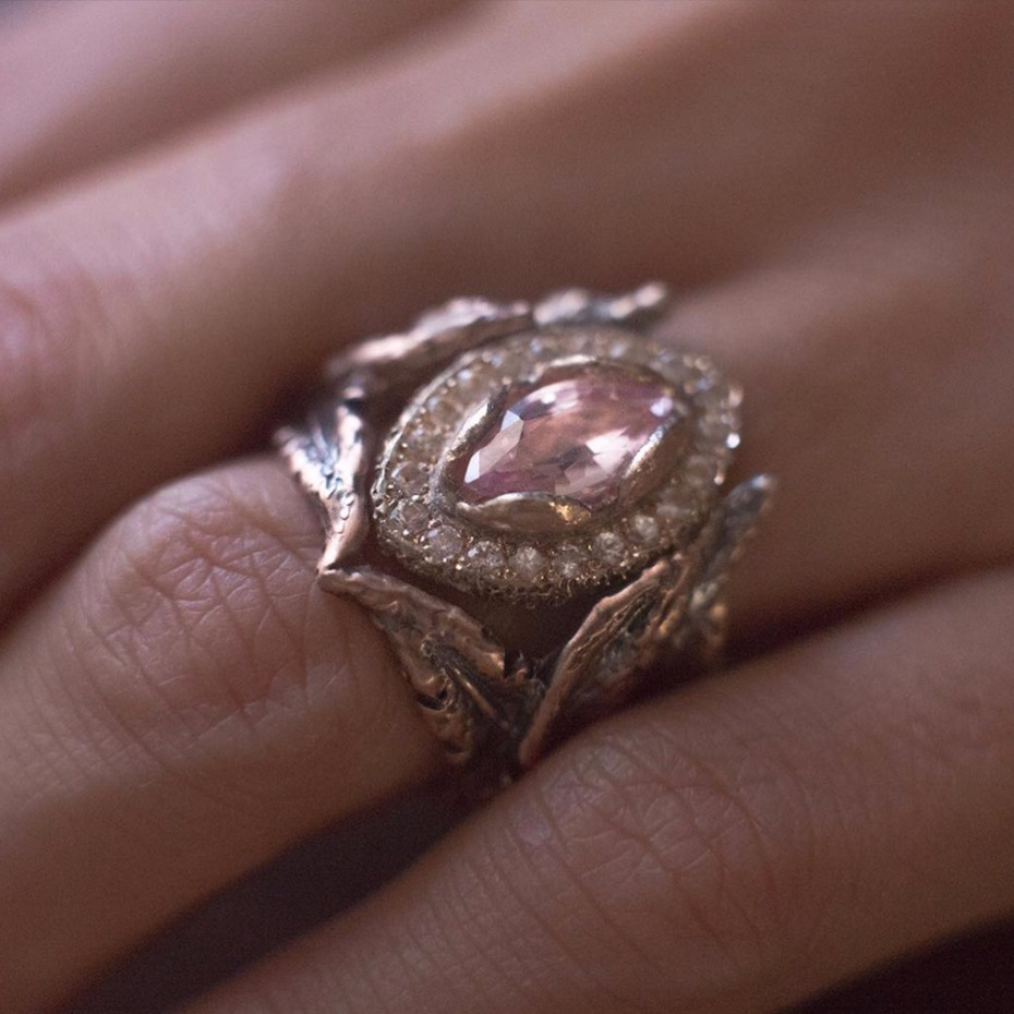 A close-up of the Rhodes Wedding Co.2 piece engagement ring + wedding band