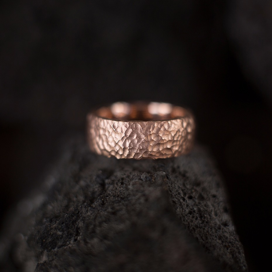 Hammered rose gold wedding band for the Groom