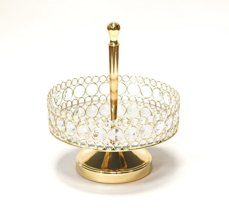 Gorgeous Glittering Gold Mirror Basket adorned with clear glass bling by Opulent Treasures. Perfect for displaying wedding flowers
