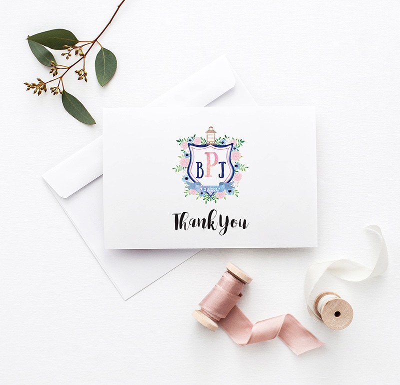 Miss Design Berry's Watercolor Wedding Crest Thank you Cards are the perfect way to thank your guests after your wedding.