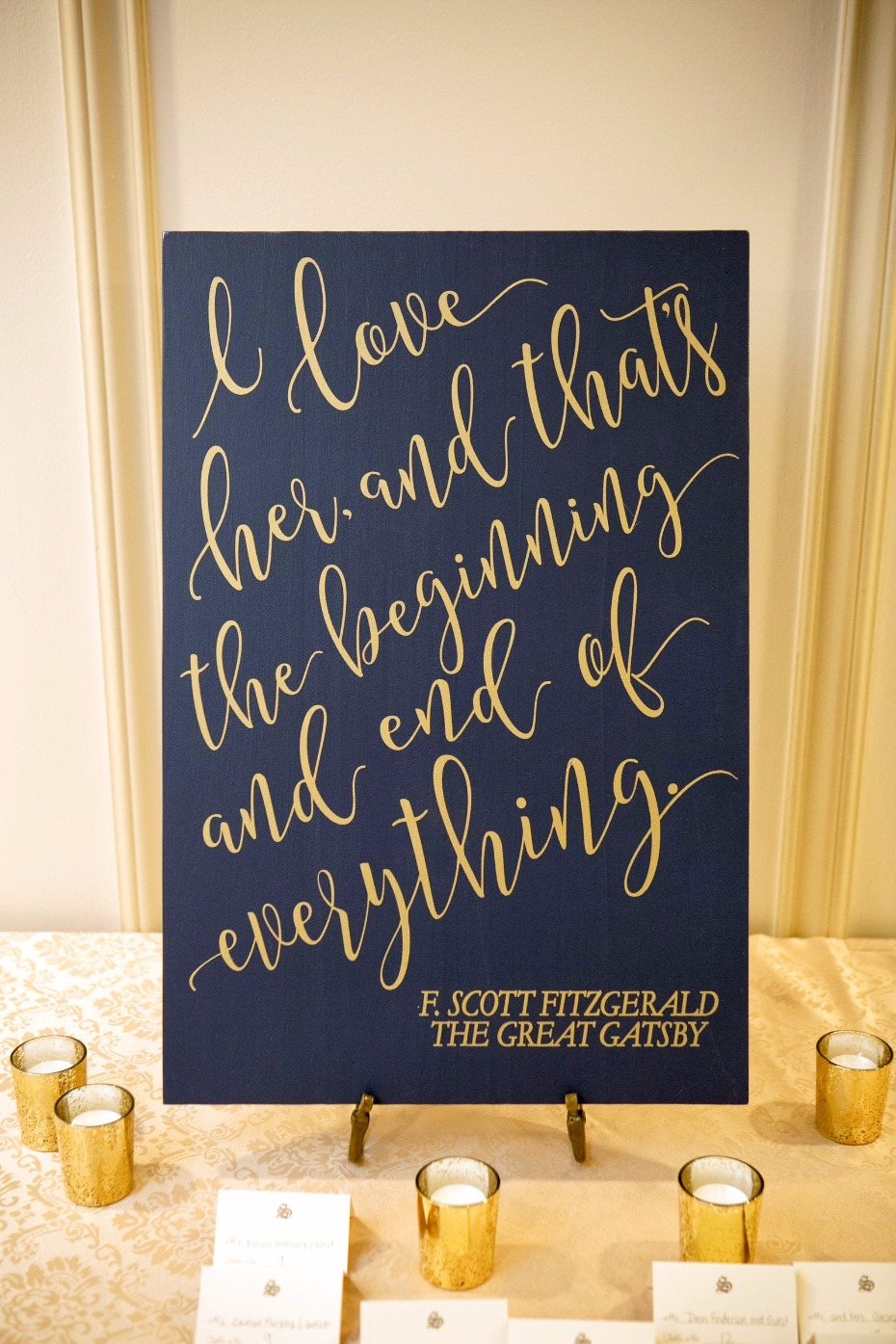 Gold calligraphy sign from Z Creative Design