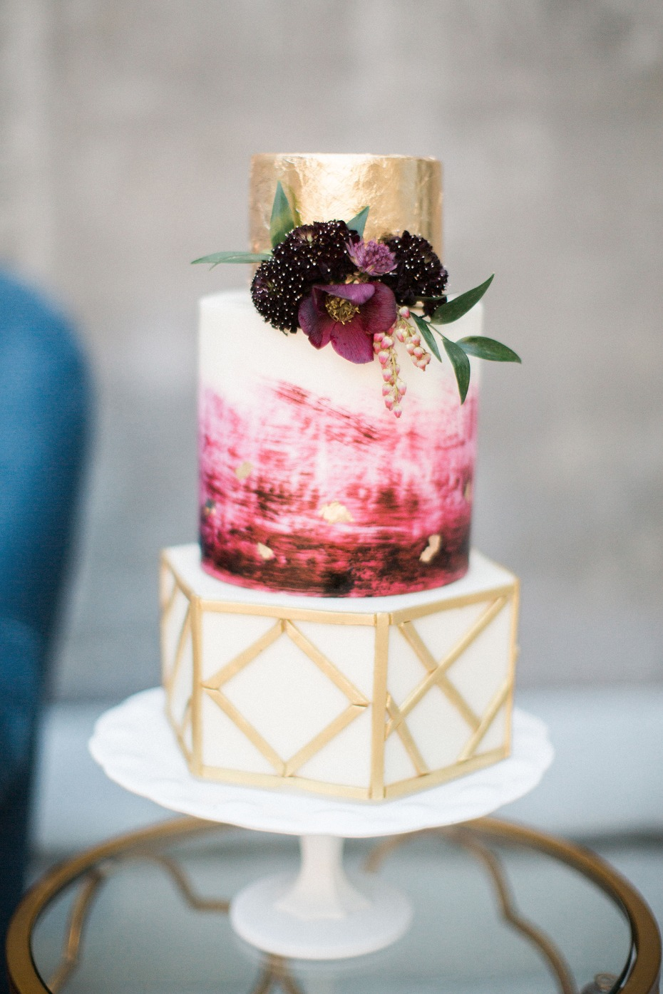 gold and burgundy modern boho style cake