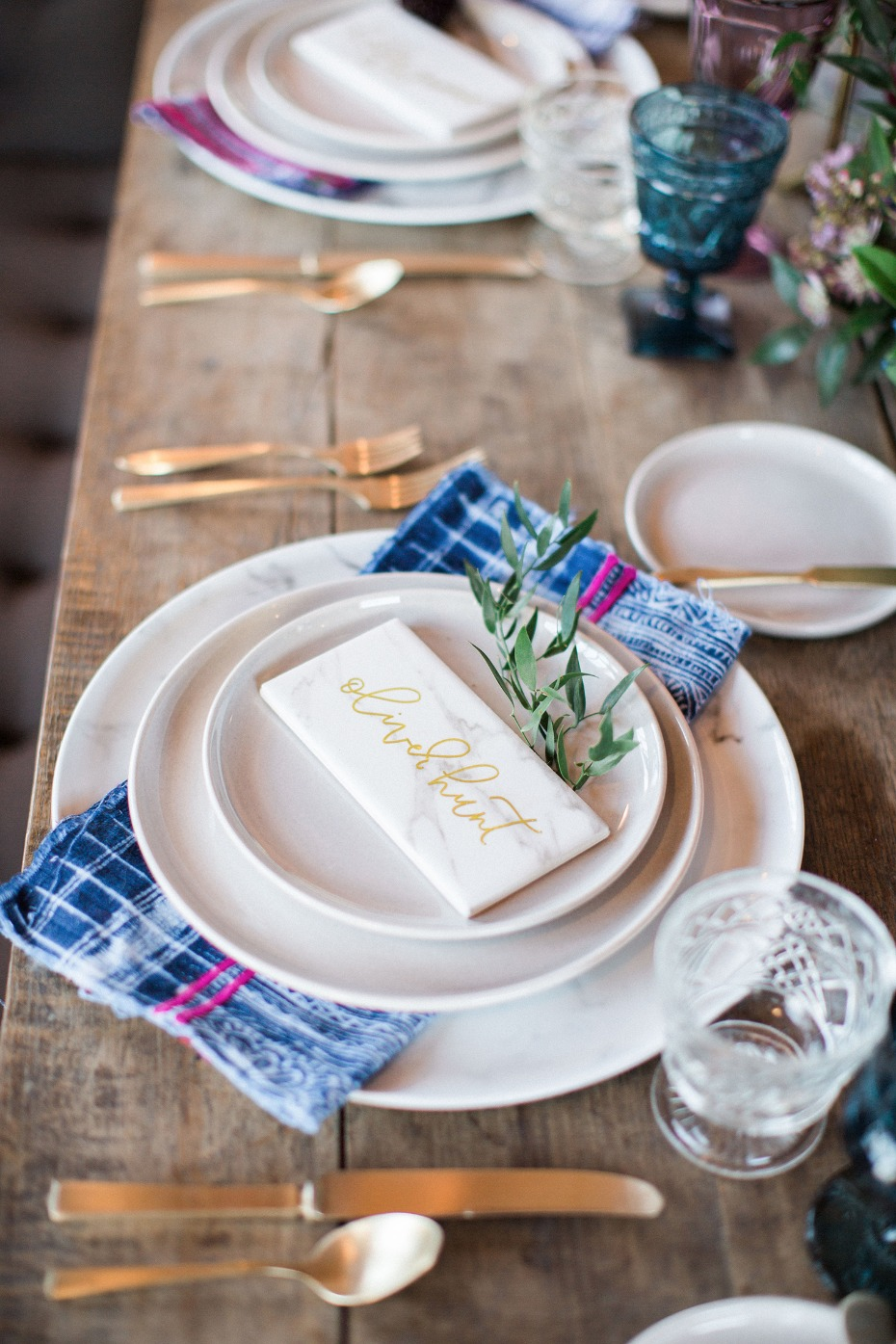 modern organic boho chic wedding place setting