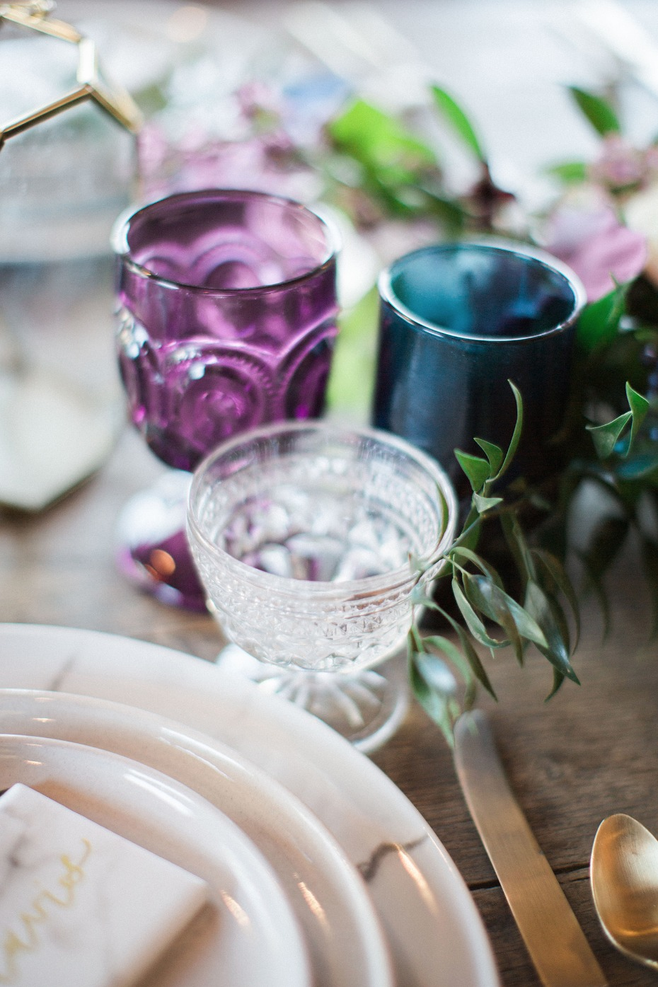 mismatched wedding glasses