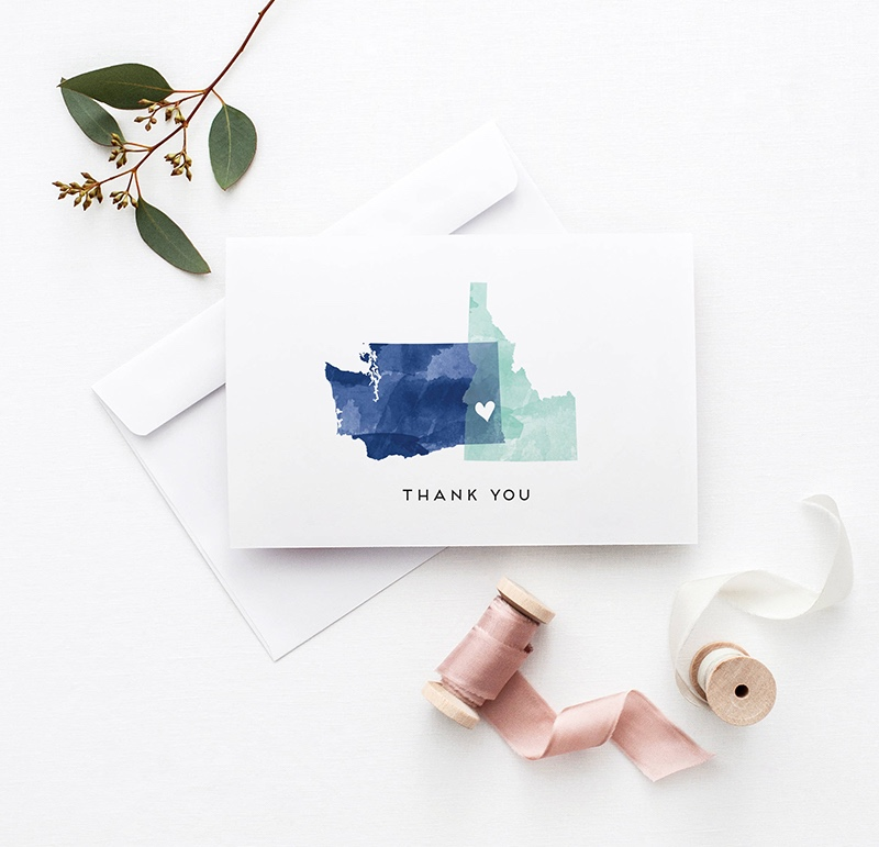 Miss Design Berry's Watercolor StateLove Wedding Thank you Cards are the perfect way to thank your guests after your wedding.