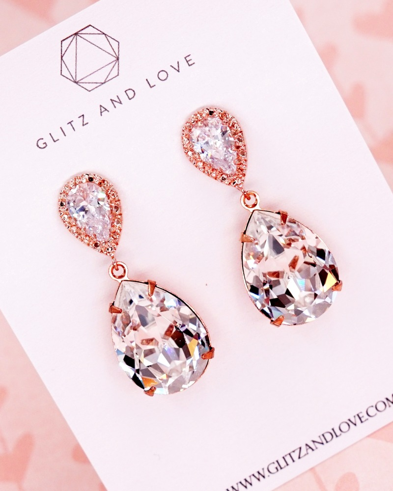 Rose Gold Jewelry Set, Cubic zirconia teardrop long earrings, Swarovski crystal, brides jewelry, bridesmaid bridal shower gifts, wedding
