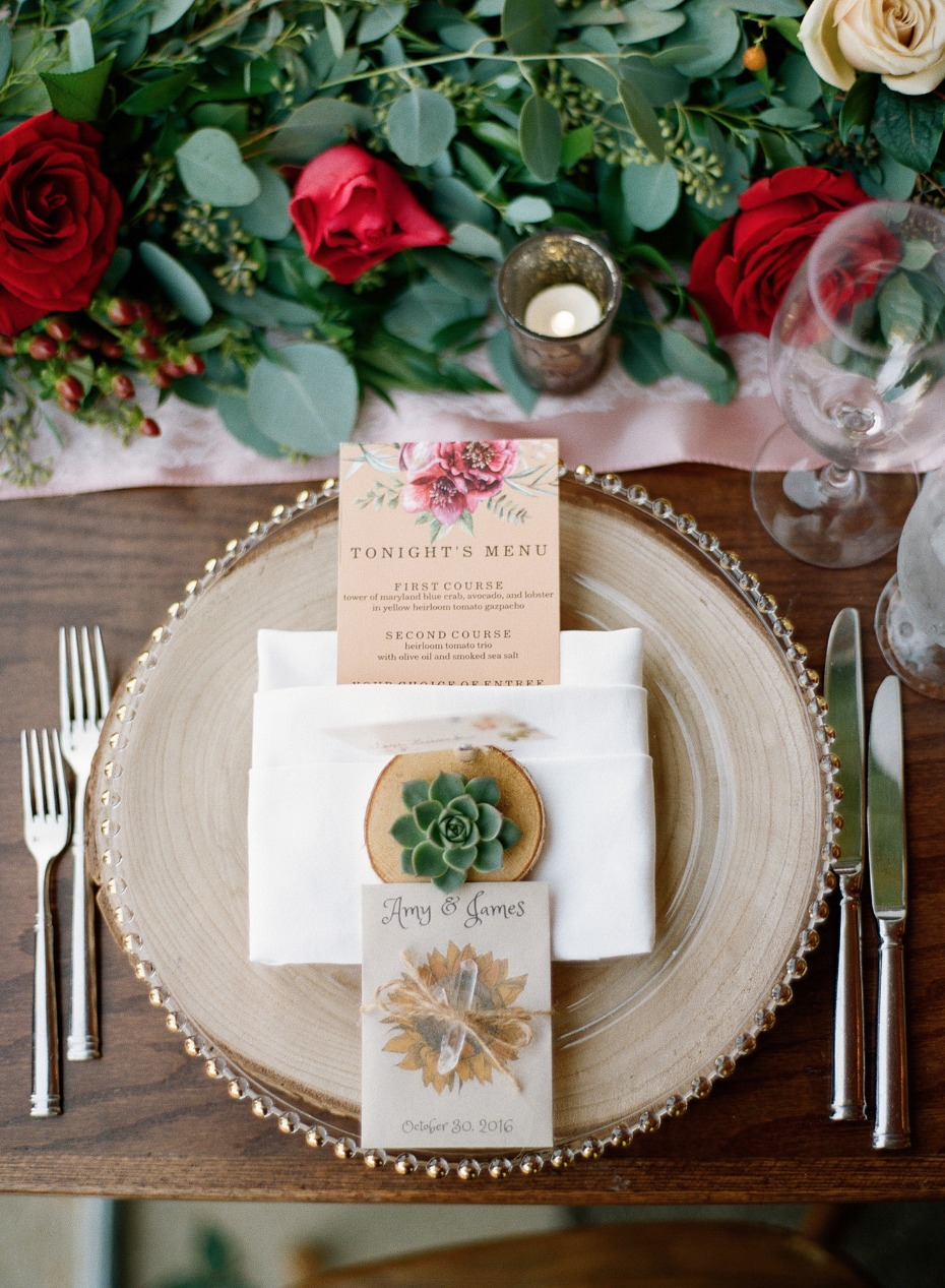 place setting for your rustic glam Fall wedding