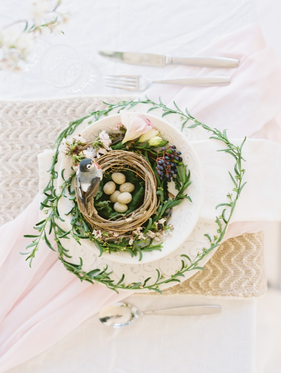 Spring table setting with bird nest