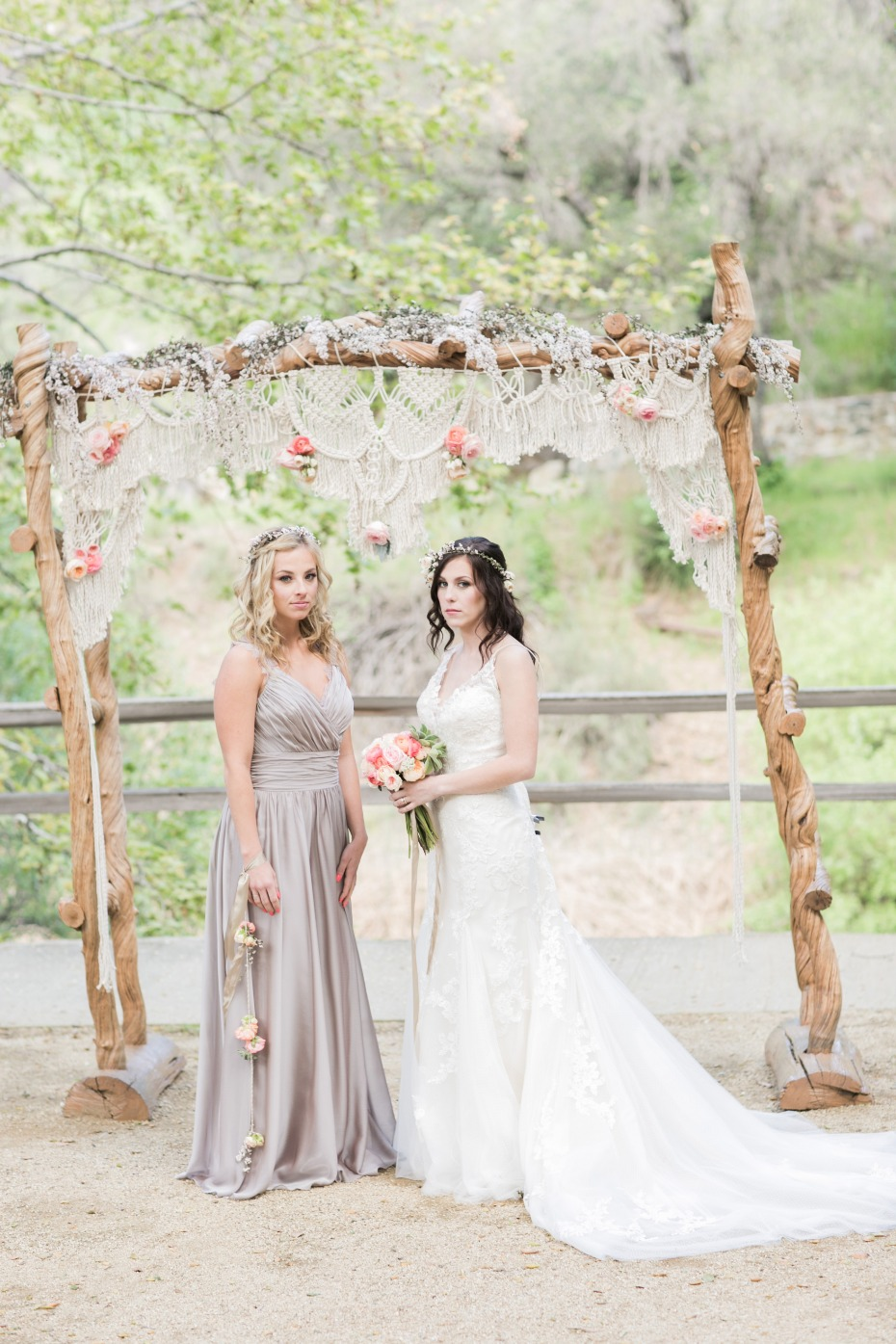 Boho bride and bridesmaid looks