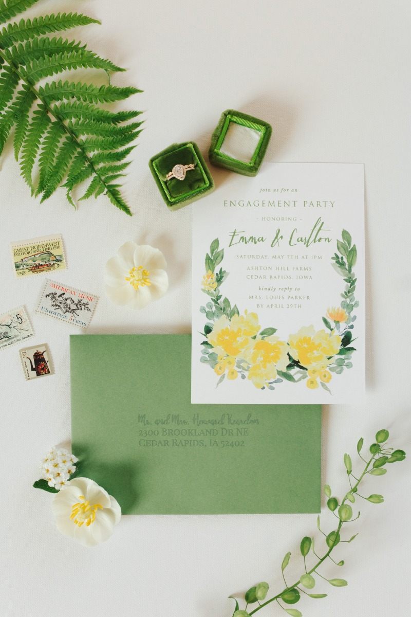 This styled shoot was so fun - filled with fresh greens and pops of yellow, it was a great marriage of spring colors for a fresh engagement
