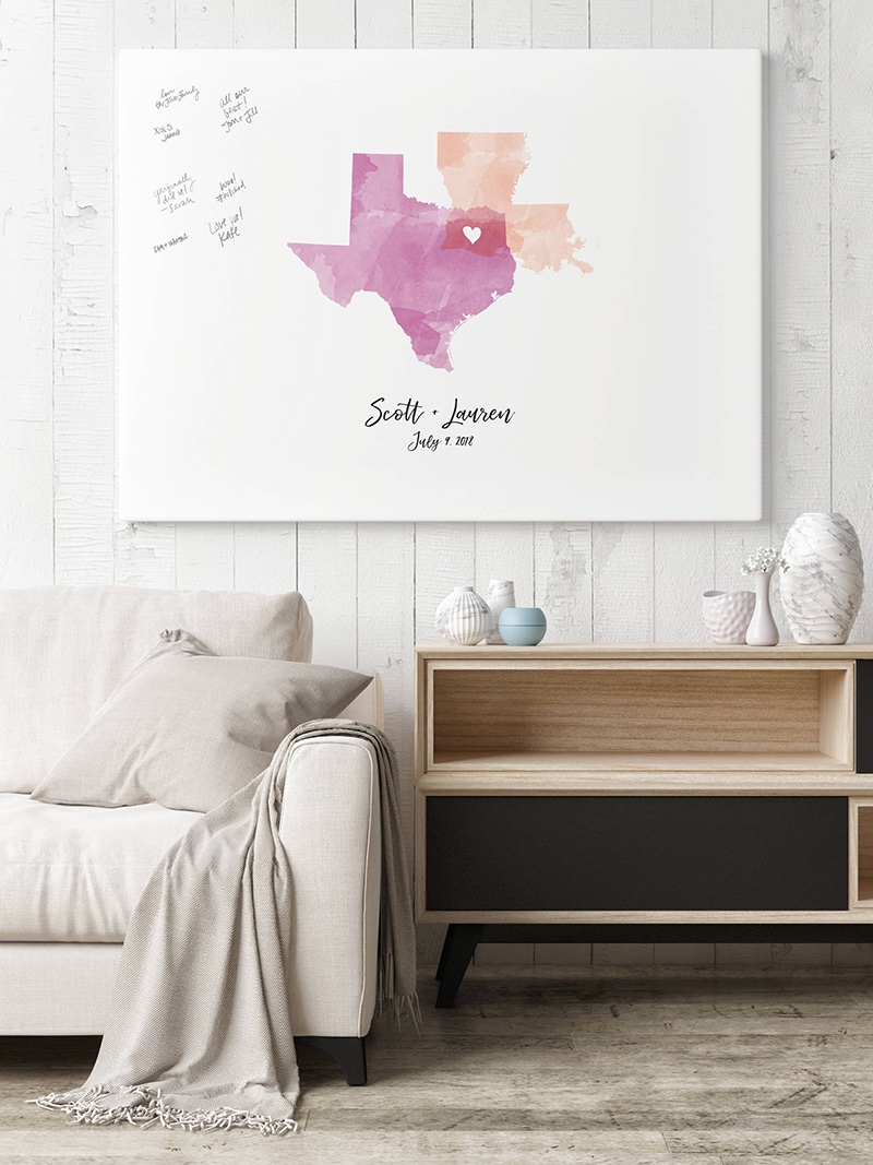 Miss Design Berry's watercolor states (or countries) guest book alternative captures the love and well wishes of your wedding guests