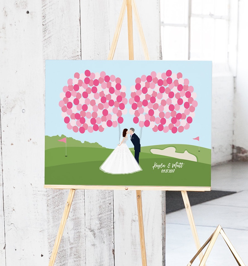 Miss Design Berry's golf course wedding guest book features a custom couple portrait holding balloons for your guests to sign on, and