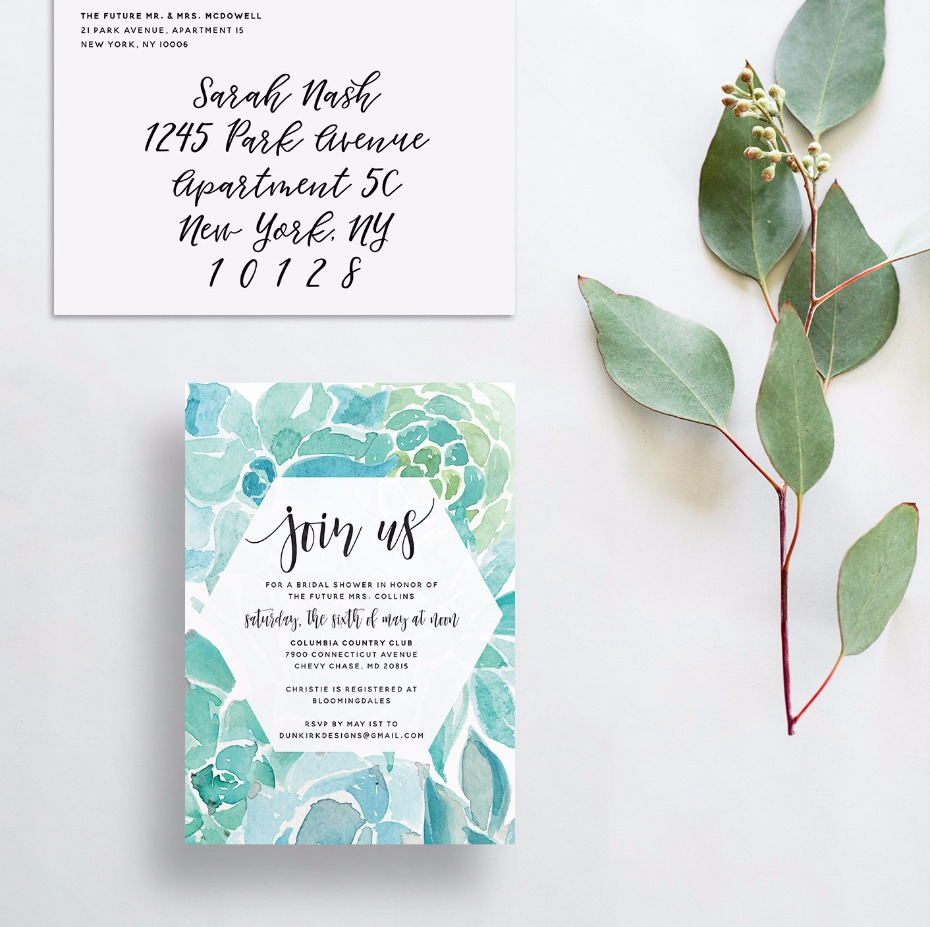 watercolor succulent invitations