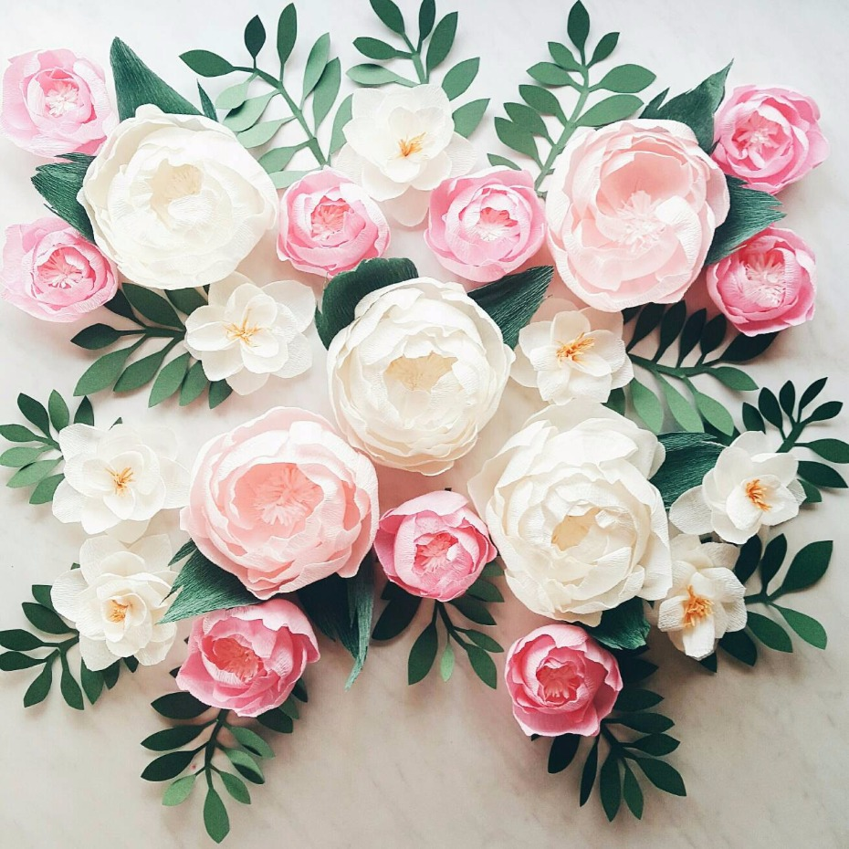 Paper flower wall display.