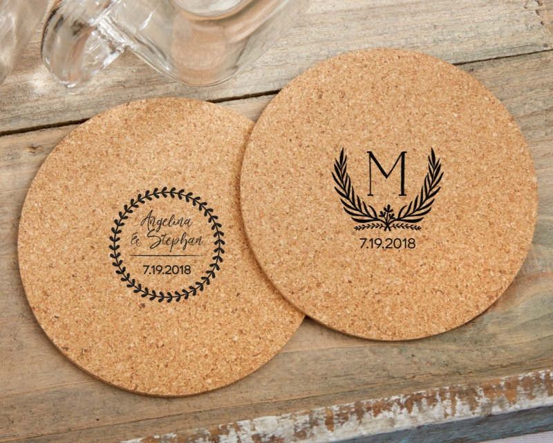 🌿 Guests will love our botanical cork coaster wedding favors and you'll love the fact that you can personalize each with your names