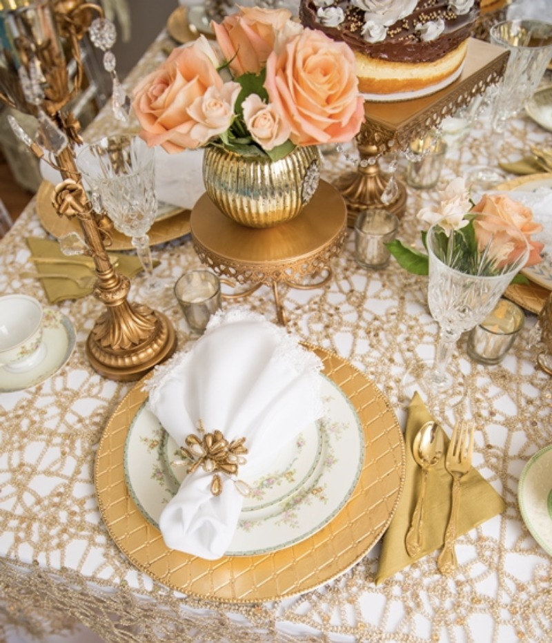 Gold, Peach & White Wedding Table Decor by Opulent Treasures