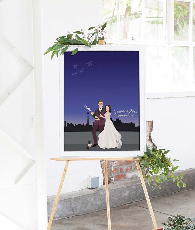 Miss Design Berry's city skyline portrait guest book is perfect for your big day. Your friends and family will love leaving you well