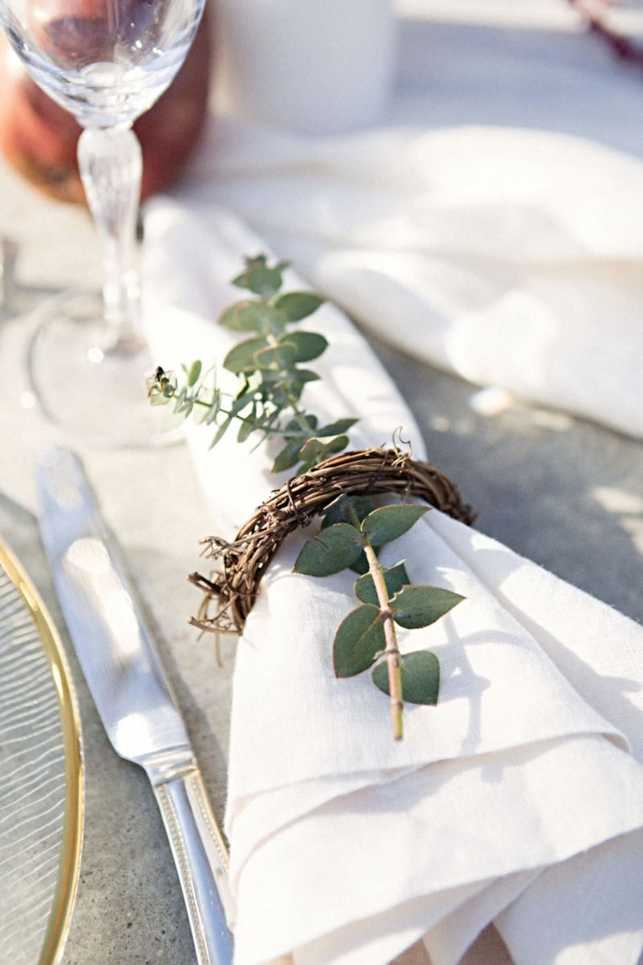 Add a sprig of greenery to your napkin