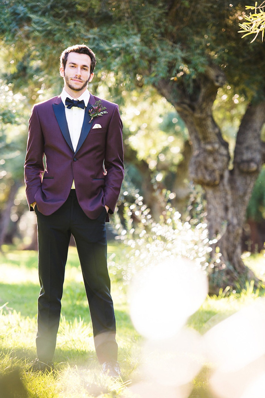 black and burgundy groom style