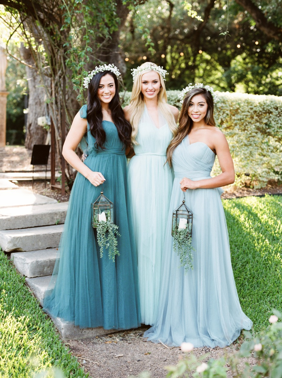 sea foam and teal Revelry dresses
