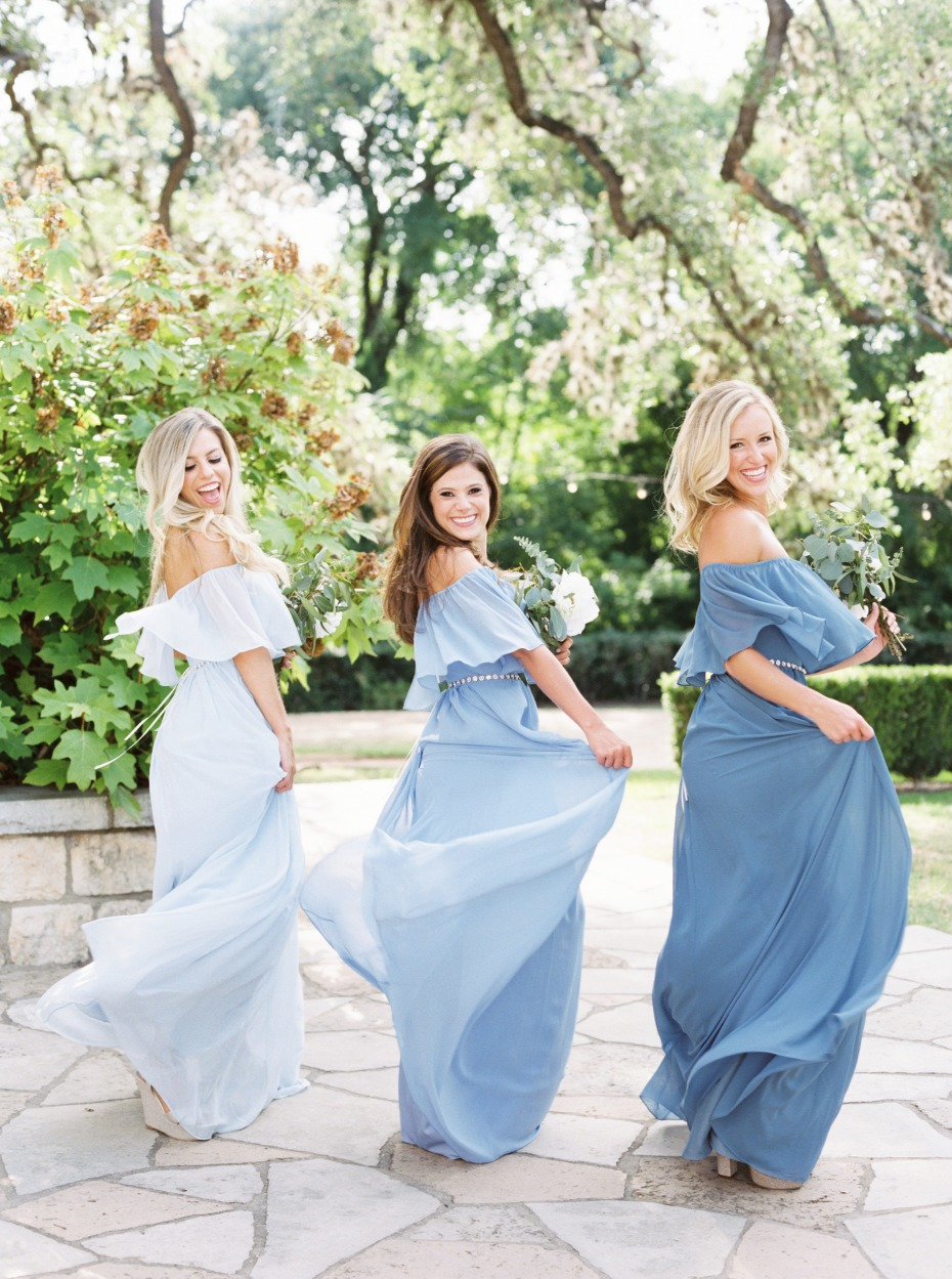 blue dresses from Revelry
