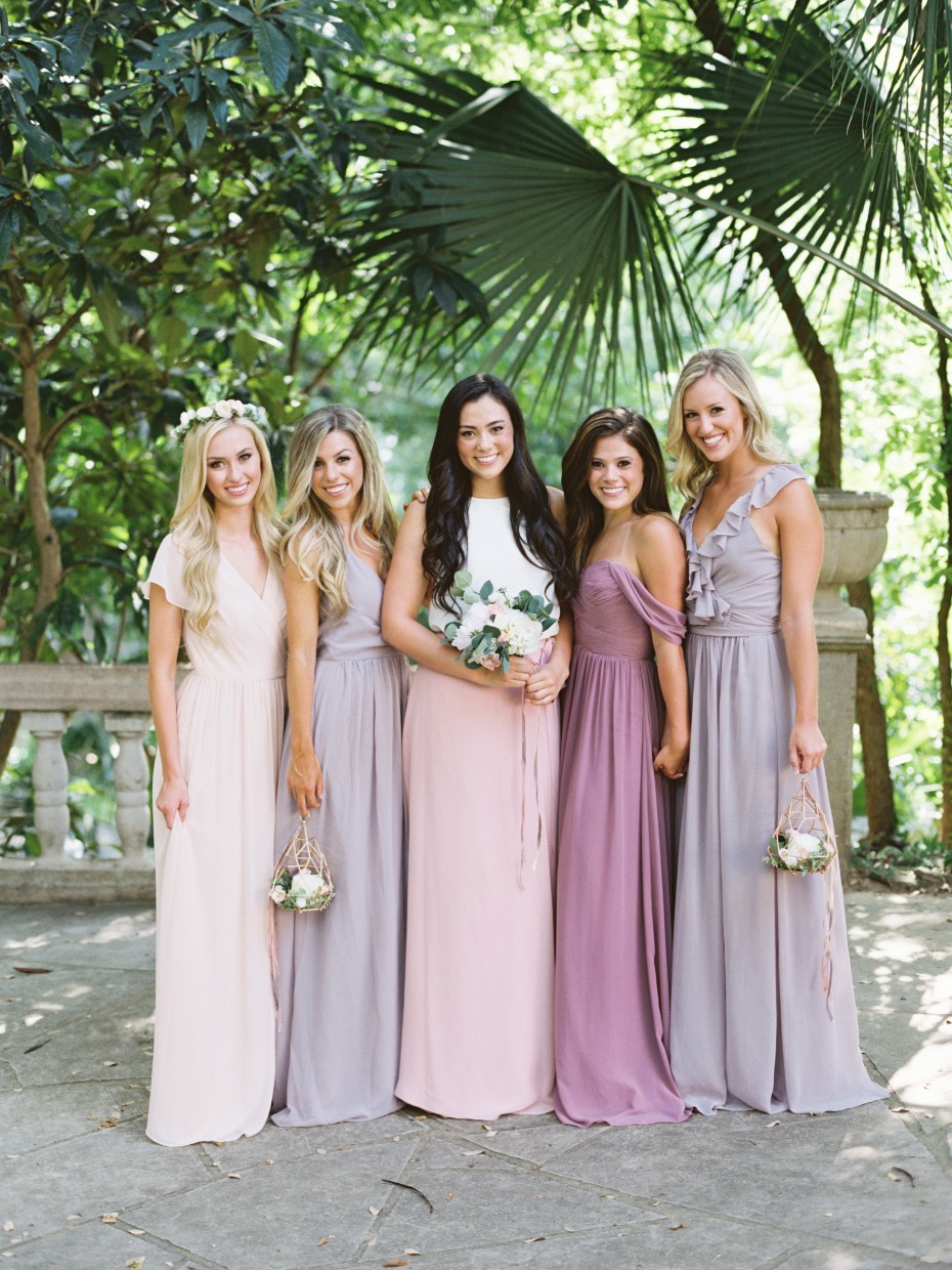 blush and pink Revelry dresses
