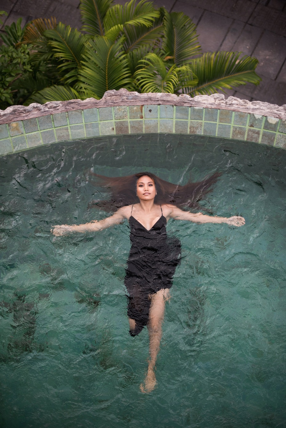 floating around in the pool