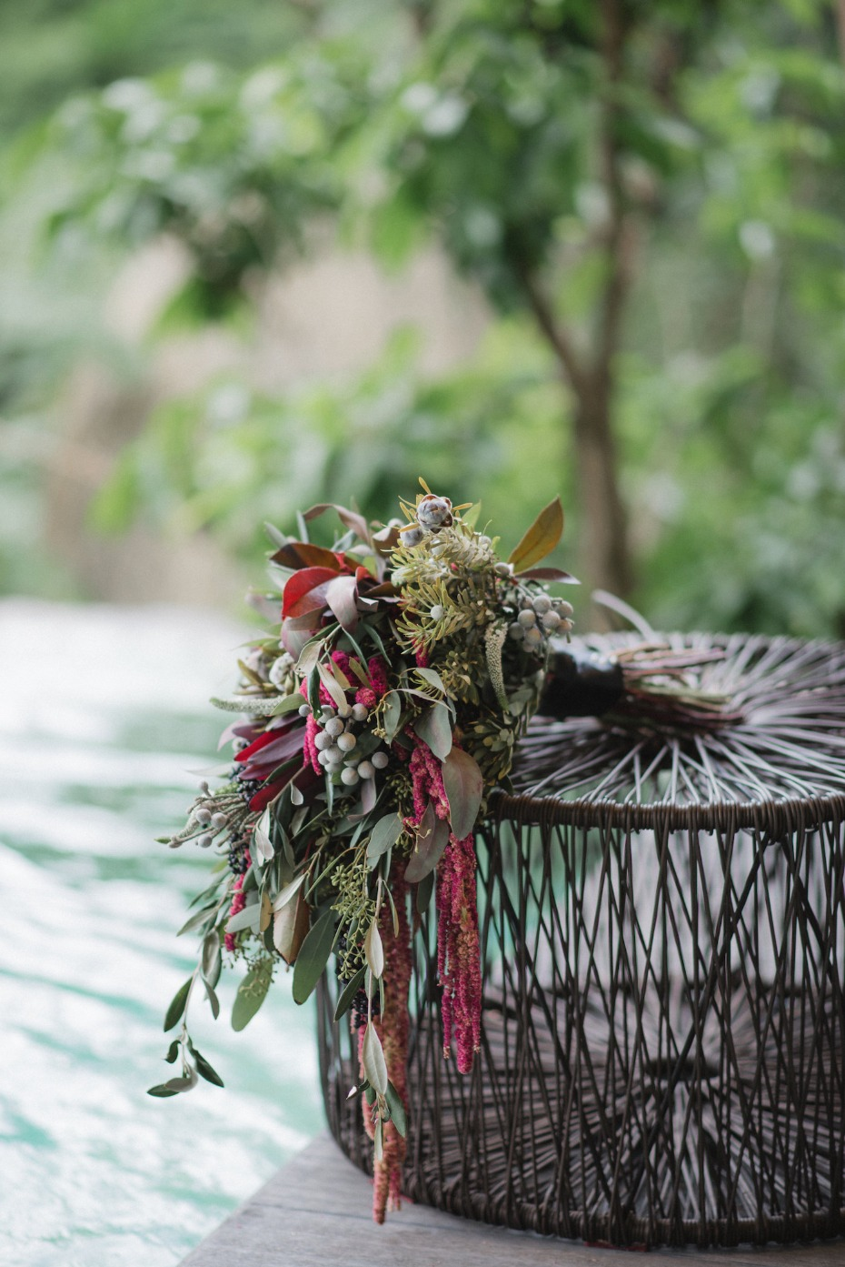 tropical green and red wedding bouquet