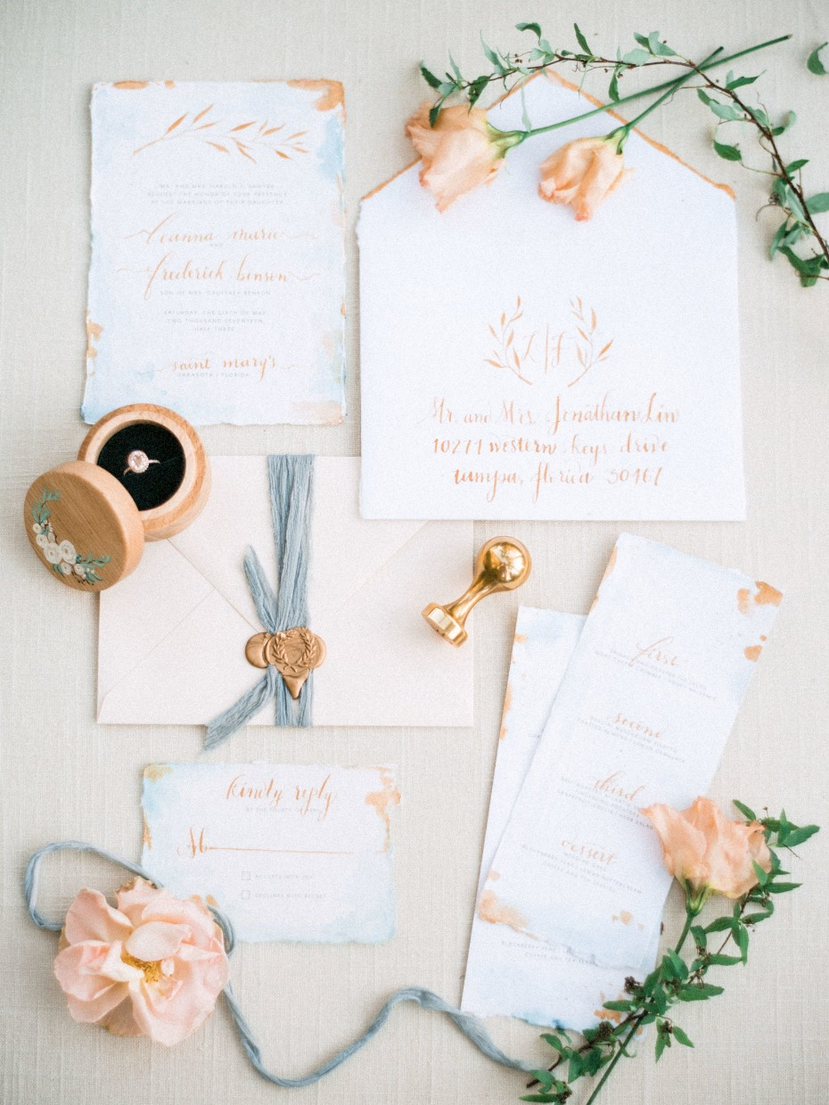 Peach and blue invitation suite